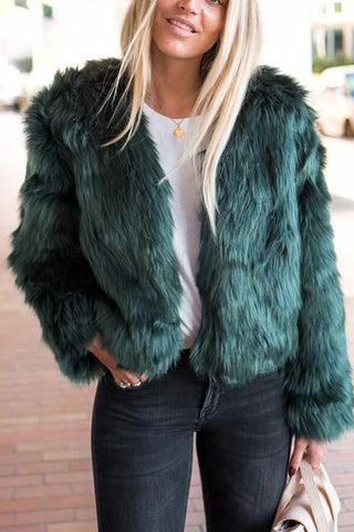 Faux Fur Long Sleeve Short Coat - girlyrose.com
