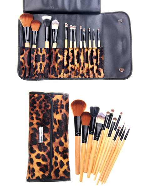 12 Piece Leopard Skin Brush Set - girlyrose.com