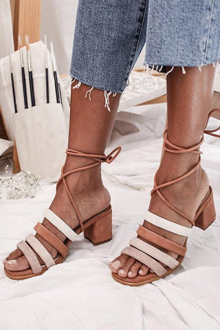 Lace Up Chunky Heel Sandals - girlyrose.com