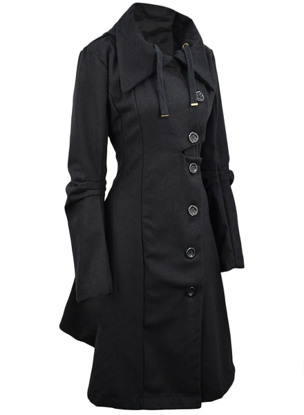 Modern Button Closure Asymmetrical Hem Black Coat - girlyrose.com