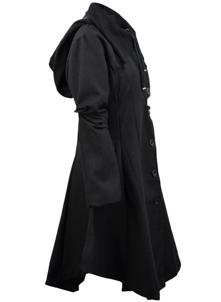 Modern Button Closure Asymmetrical Hem Black Coat