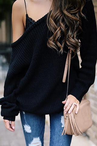 One Shoulder Loose Sweater - girlyrose.com