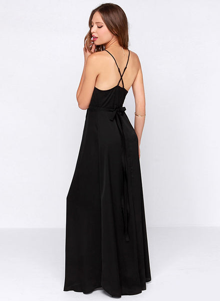 Black Off Shouler V Neck Maxi Slit Prom Dress - girlyrose.com
