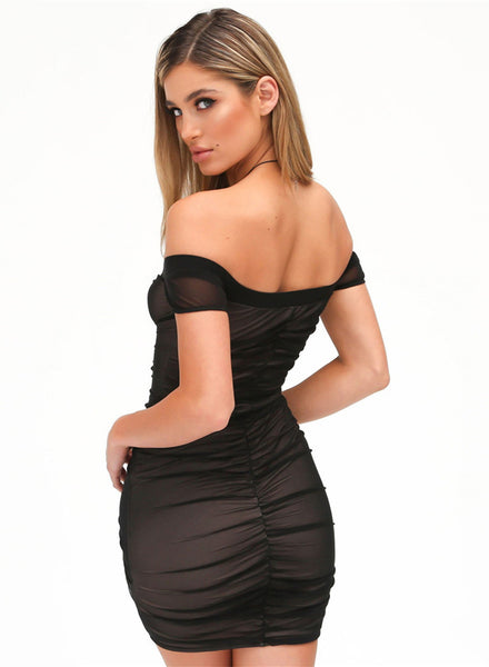 off Shoulder Ruched Bodycon Irregular Club Dress - girlyrose.com