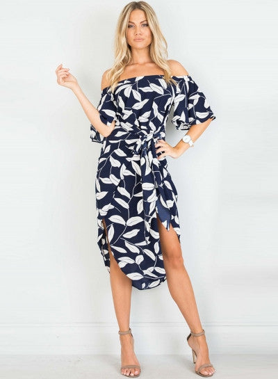 off Shoulder Short Sleeve Leaf Printed Midi Dress with Belt