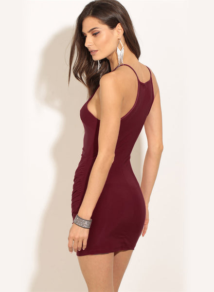 off Shoulder Sleeveless Irregular Bodycon Mini Dress - girlyrose.com