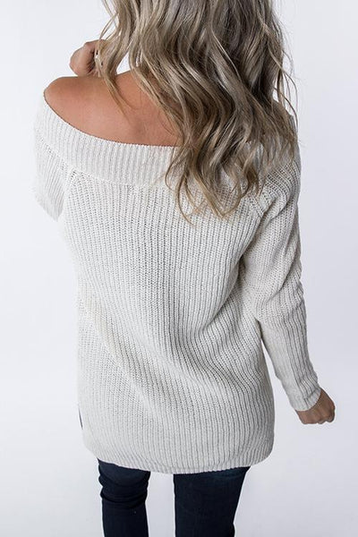 V Neck Side Slit Loose Sweater - girlyrose.com