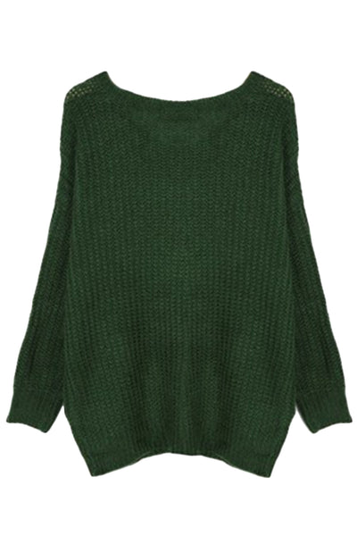 Oversized Scoop Neck Loose Fit Chunky Knit Sweater - girlyrose.com