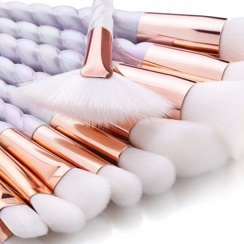 10 Piece White And Gold Unicorn Makeup Brush Set - girlyrose.com