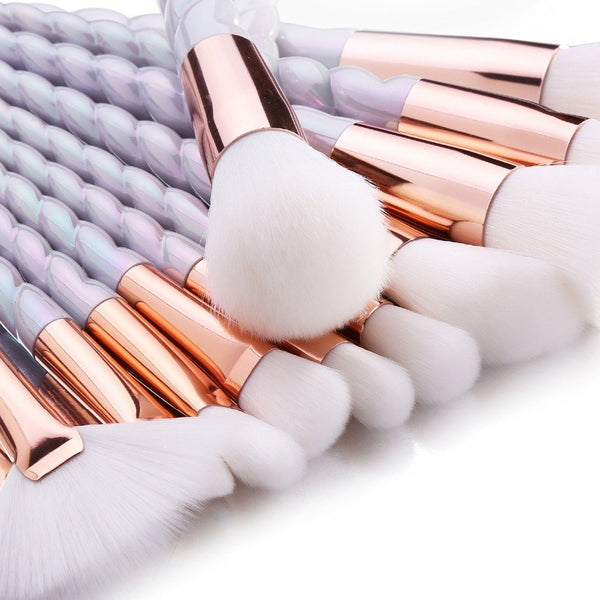 10 Piece White And Gold Unicorn Makeup Brush Set