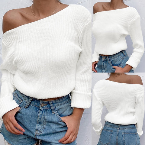 Sexy Irregular Oblique Neck One Shoulder Off Shoulder Tight Sweater - girlyrose.com