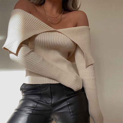 Sexy Off Shoulder Slim Necked Fashion Women'S Long Sleeve Top - girlyrose.com