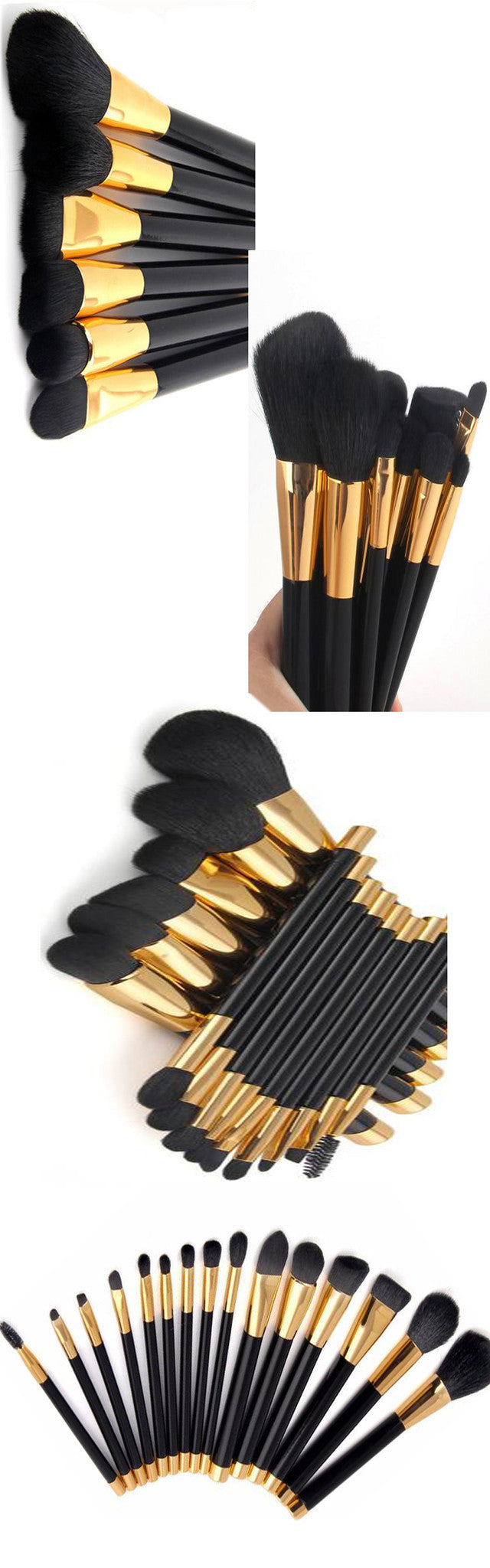 15 Piece Black And Gold Makeup Brush Set - girlyrose.com
