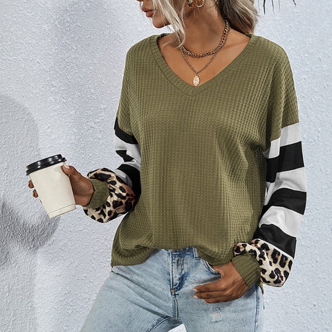 V-Neck Stripes Leopard Patchwork Top - girlyrose.com