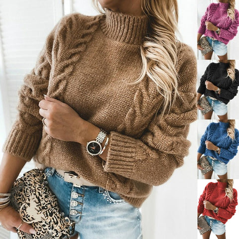 High Neck Long Sleeve Knit Sweater - girlyrose.com