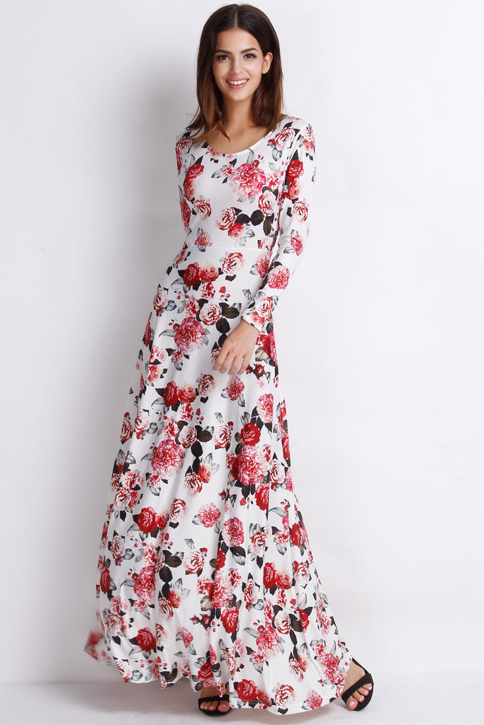 Rustic Romance Floral Long Sleeves Dress