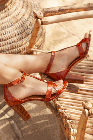 Cross Strap Buckle High Heels Sandals - girlyrose.com