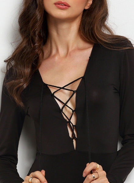 Slim Fit V Neck Lace-up Jumpsuit with Long Sleeves - girlyrose.com