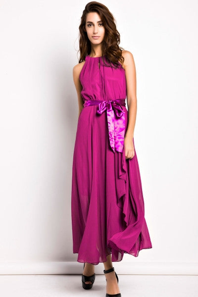 Slit Halter Evening Maxi Dress