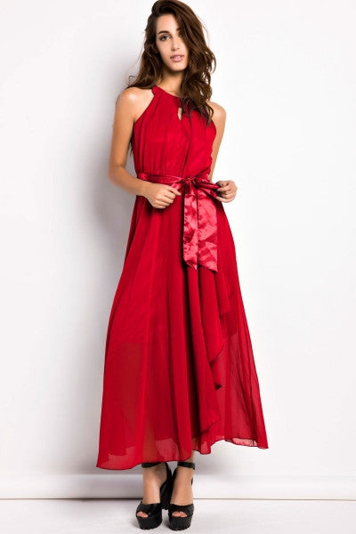 Slit Halter Evening Maxi Dress - girlyrose.com
