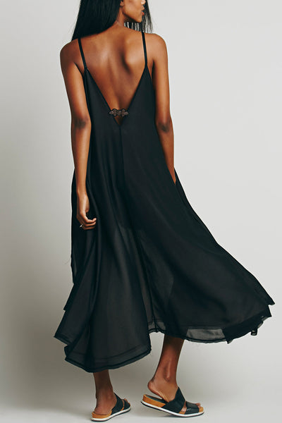 Spaghetti Strap Deep V Backless Asymmetric Chiffon Dress