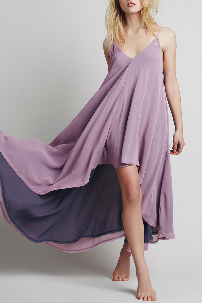 Spaghetti Strap Deep V Backless Asymmetric Chiffon Dress - girlyrose.com