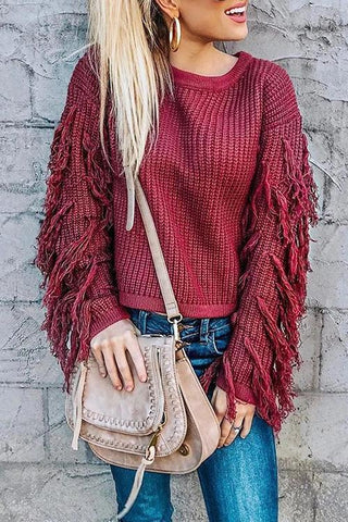 Tassels Sleevless O Neck Sweater - girlyrose.com