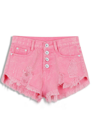 Sweet Destroyed Fringe Denim Shorts - girlyrose.com