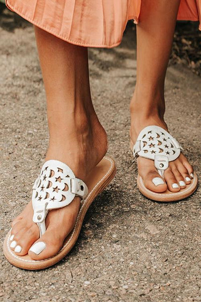 Moon Star Openwork Toe Flat Slippers - girlyrose.com