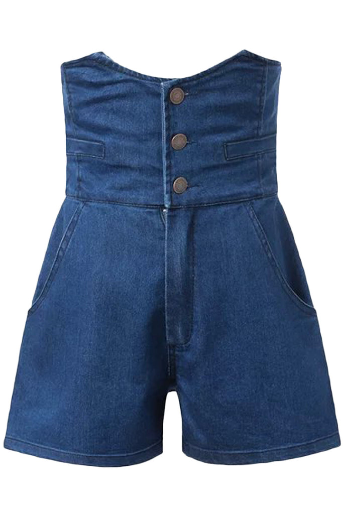 Vintage Button Front High Waist Denim Shorts
