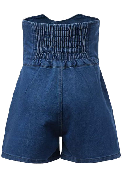 Vintage Button Front High Waist Denim Shorts - girlyrose.com