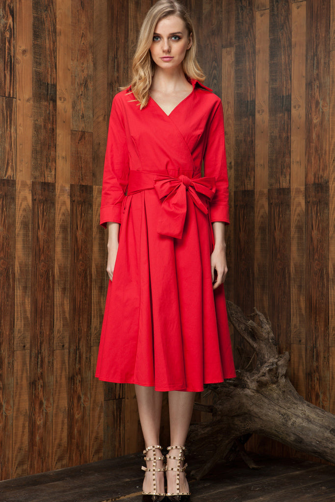 Vintage Hepburn Style Bow Belt Dress - girlyrose.com