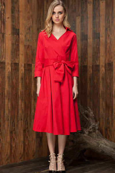 Vintage Hepburn Style Bow Belt Dress
