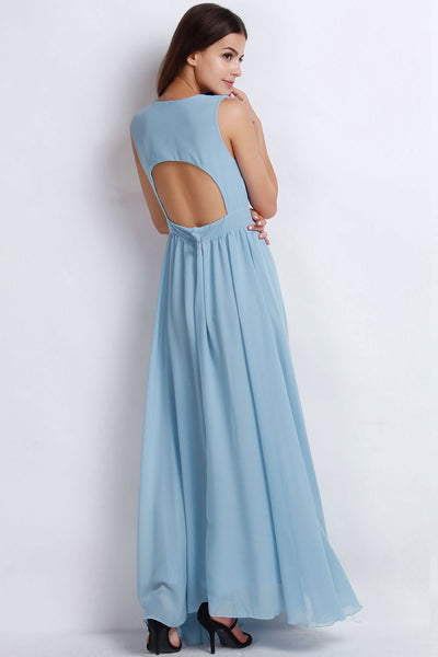Vintage Plunging V Neckline Back Cut-Out Maxi Chiffon Dress - girlyrose.com