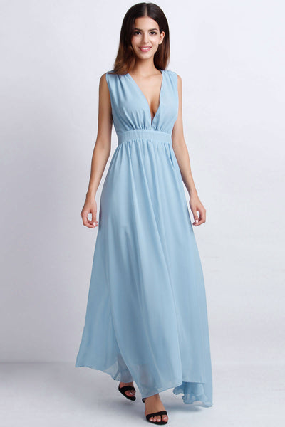 Vintage Plunging V Neckline Back Cut-Out Maxi Chiffon Dress