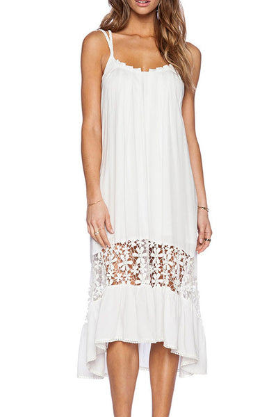 White Pleated High-Low Dress - girlyrose.com
