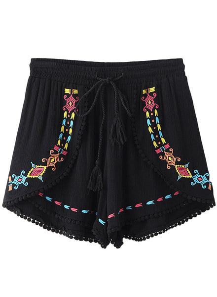 Casual Drawstring Waist Embroidery Summer Shorts - girlyrose.com