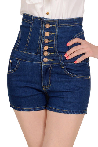 Fashion High Waist Button Front Denim Shorts - girlyrose.com