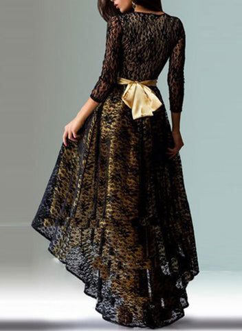 3/4 Sleeve Lace High Low Evening Party Dress