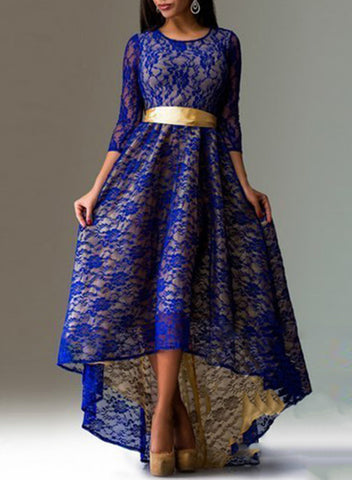 3/4 Sleeve Lace High Low Evening Party Dress - girlyrose.com