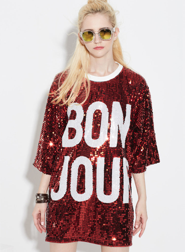 Red 3/4 Sleeve Letter Printed Sequins Club Dress - girlyrose.com