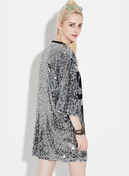 Silver 3/4 Sleeve Letter Printed Sequins Club Dress - girlyrose.com