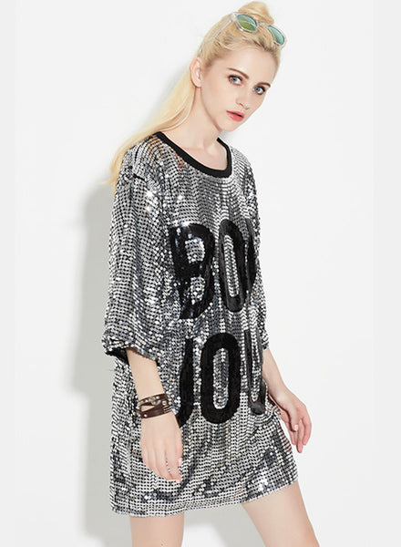 Silver 3/4 Sleeve Letter Printed Sequins Club Dress