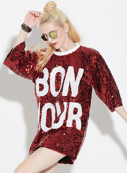 Red 3/4 Sleeve Letter Printed Sequins Club Dress