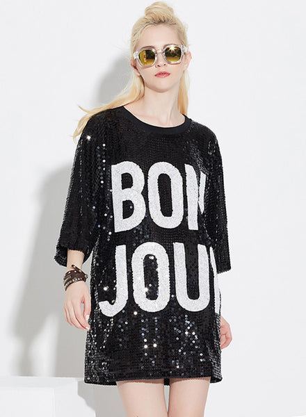Black 3/4 Sleeve Letter Printed Sequins Club Dress - girlyrose.com