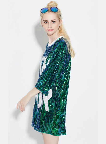 Green 3/4 Sleeve Letter Printed Sequins Club Dress