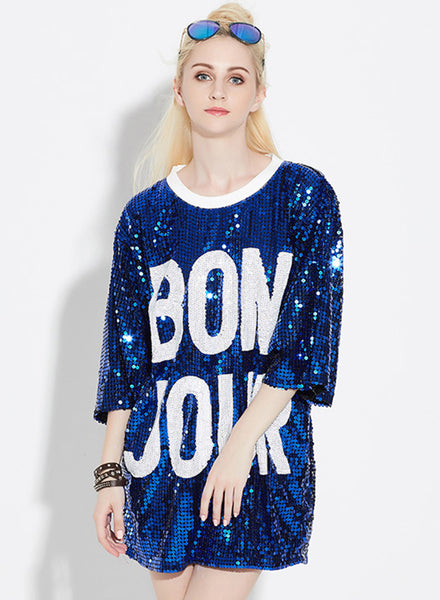 Blue 3/4 Sleeve Letter Printed Sequins Club Dress - girlyrose.com
