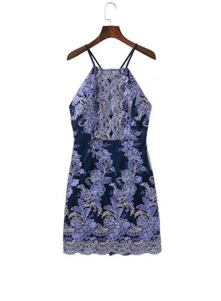 Navy Backless Bodycon Lace Embroidery Dress - girlyrose.com