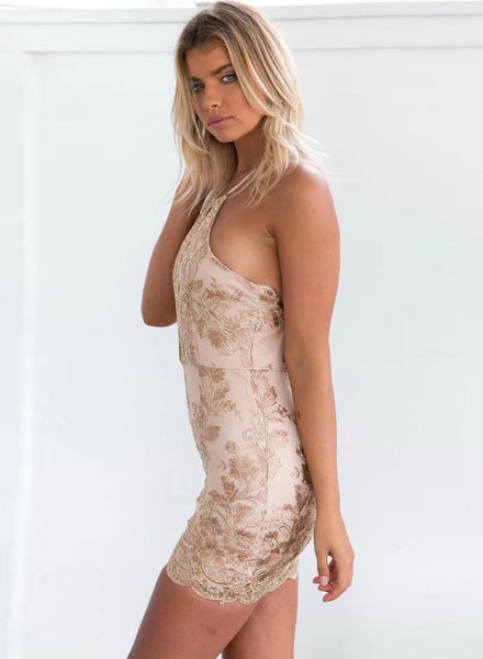 Khaki Backless Bodycon Lace Embroidery Dress - girlyrose.com