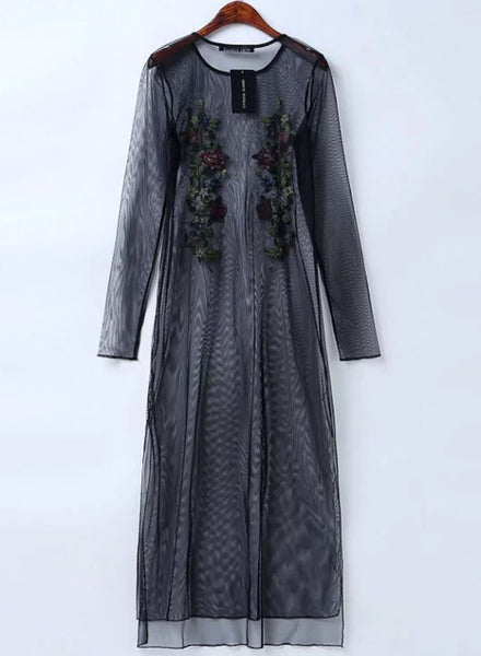 Black Floral Embroidery Sheer Dress